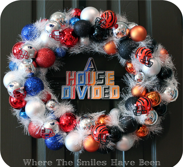 House Divided Ornament Wreath via Where The Smiles Have Been