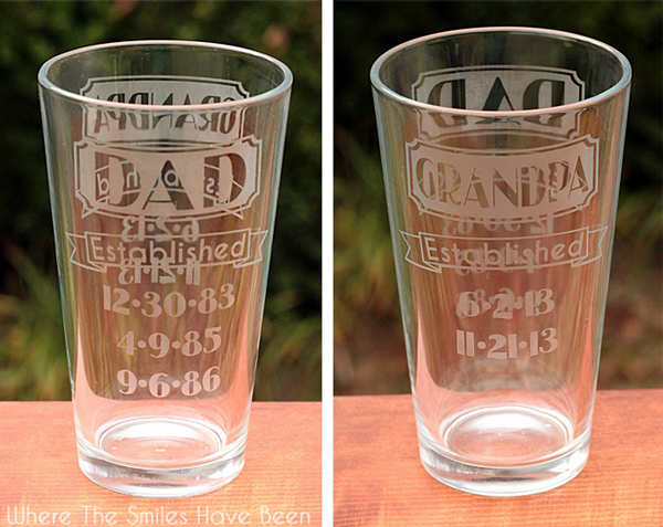 Dual Sided Dad Amp Grandpa Established Etched Glass