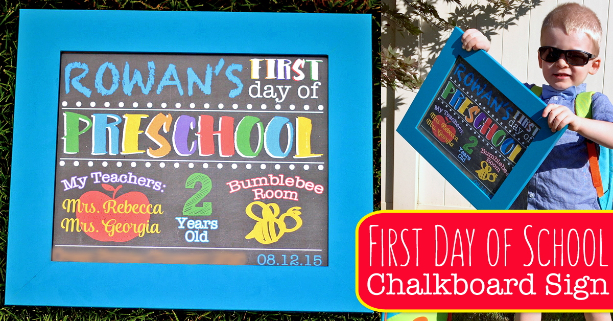 cute diy first day of school chalkboard sign photo prop