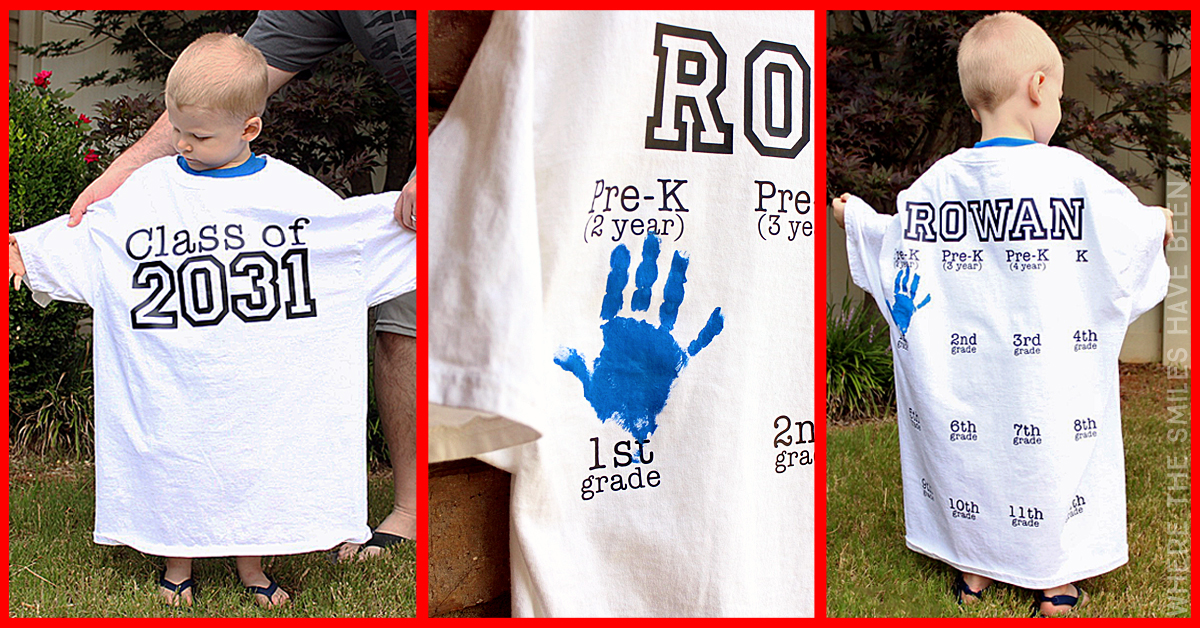 6019dd69a Yearly Back-to-School Shirt with Handprints for Every Grade