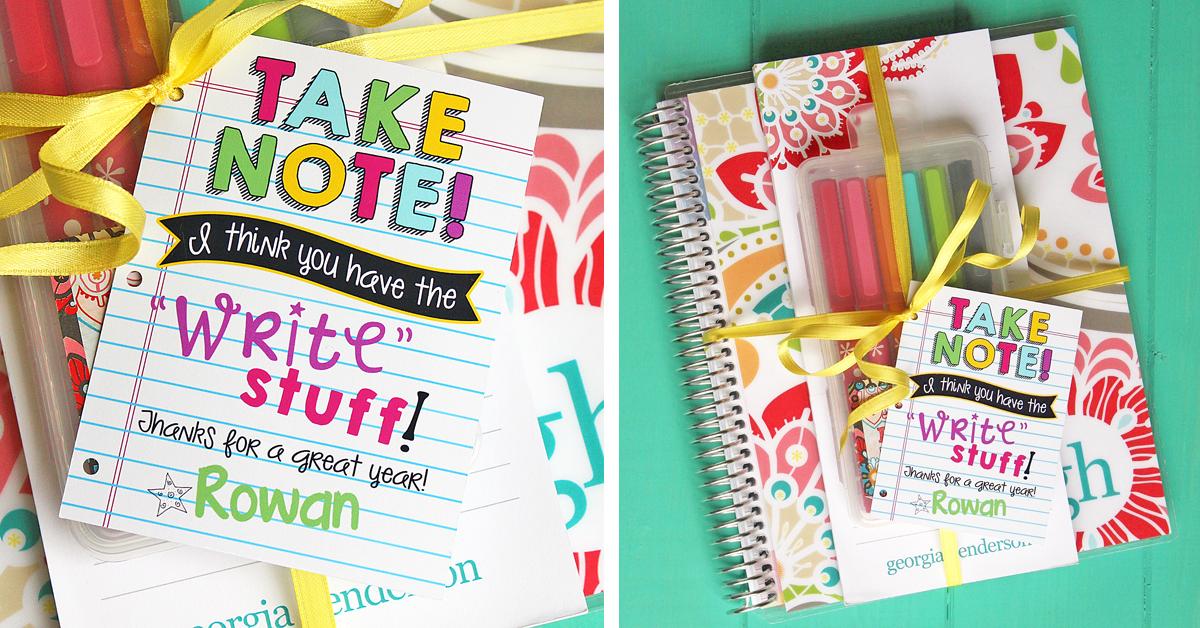stationery teacher gift idea   free printable tag  u0026 cut file