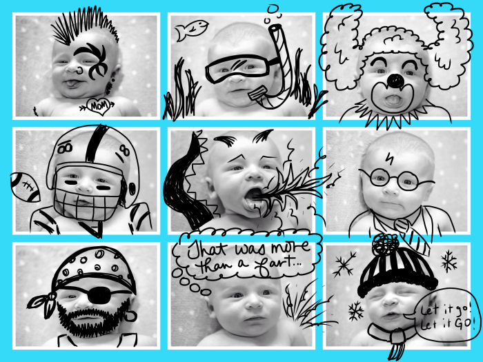 Doodle Fun with Baby's Faces! | Where The Smiles Have Been #baby #newborn #infant #newparent #momtips #parentinghack #doodle #doodleidea #graphicdesign #collage