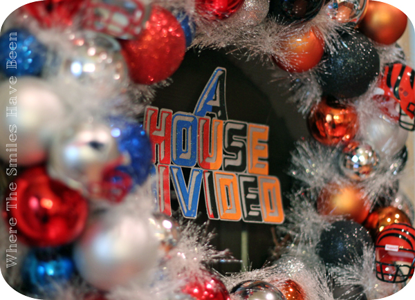 NFL 'House Divided' Ornament Wreath   Where The Smiles Have Been #NFL #HouseDivided #football #sports #wreath #ornamentwreath #Patriots #Bengals #teamwreath #fanfavorite #DIY #footballseason