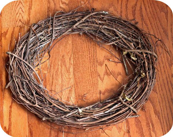 Grapevine wreath form to make an ornament wreath.