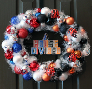 NFL 'House Divided' Ornament Wreath | Where The Smiles Have Been #NFL #HouseDivided #football #sports #wreath #ornamentwreath #Patriots #Bengals #teamwreath #fanfavorite #DIY #footballseason
