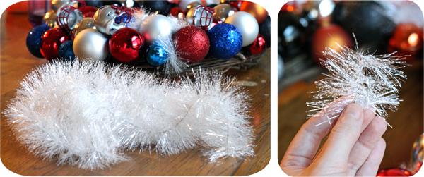 Adding filler to Make An Ornament Wreath.