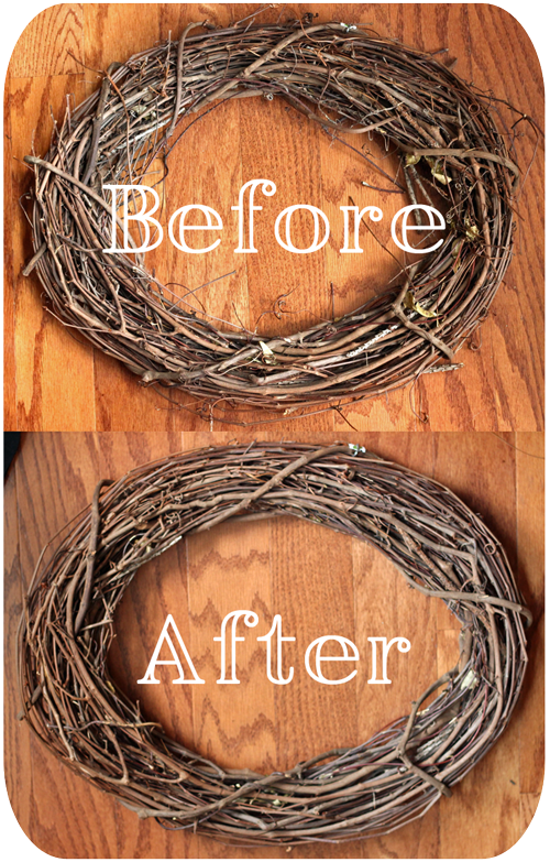 Before and after cleaning a grapevine wreath form to make an ornament wreath.
