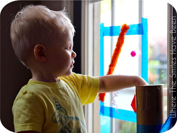Toddler Activity: Sticky Window Fun