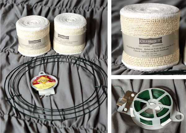burlap wreath supplies of cream burlap ribbon, a wire wreath form, and a small piece of floral wire