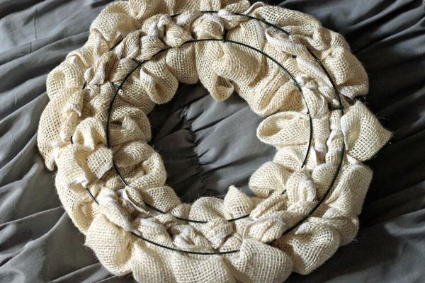 Back side of burlap wreath