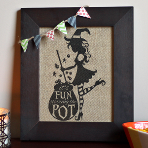 Sassy Witch Printed on Burlap