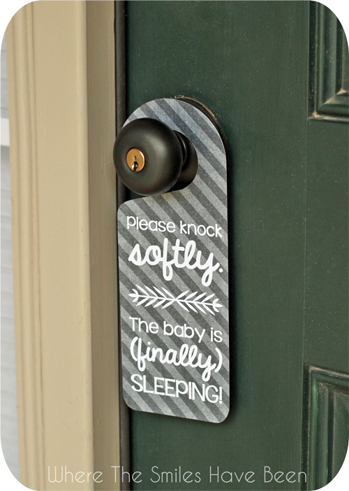 Sleeping Baby Door Hanger via Where The Smiles Have Been