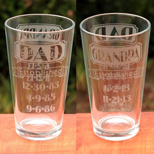 Dual-Sided Dad & Grandpa Established Etched Glass   Where The Smiles Have Been