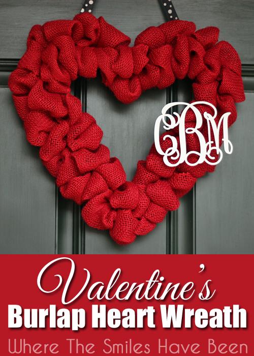 Valentine's Burlap Heart Wreath