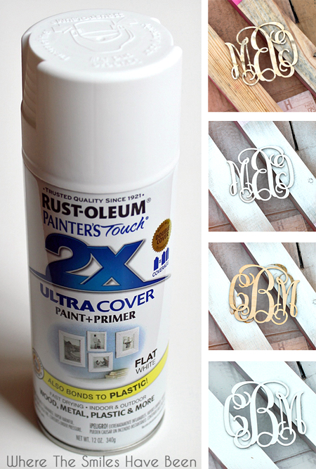 Can of white spray paint and before-and-after collage of painted wooden monogram
