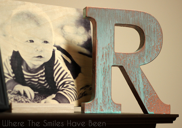 DIY Faux Copper Letter Aged with Blue Patina | Where The Smiles Have Been