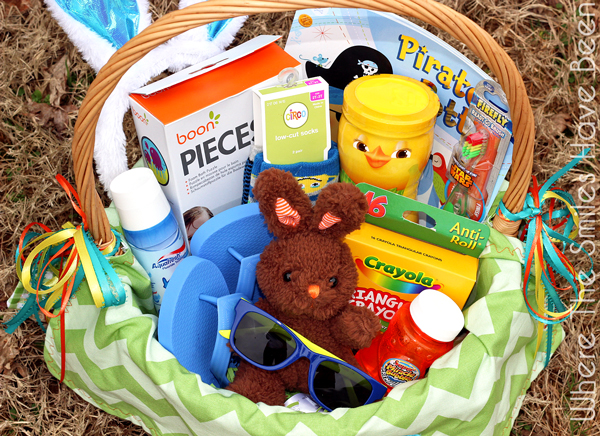 Toddler Easter basket filled with goodies.