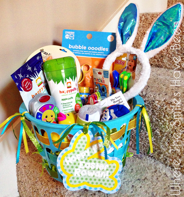 Toddler Easter basket filled with goodies and bunny ears.