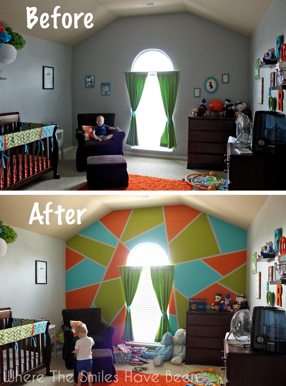 Bright and Bold Accent Wall Before and After.