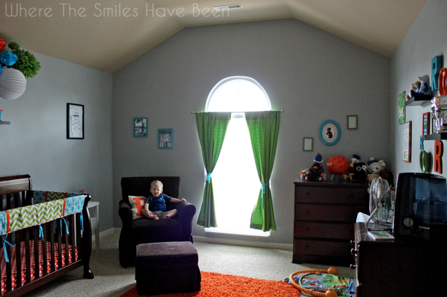 Before picture of boy's nursery without an accent wall.