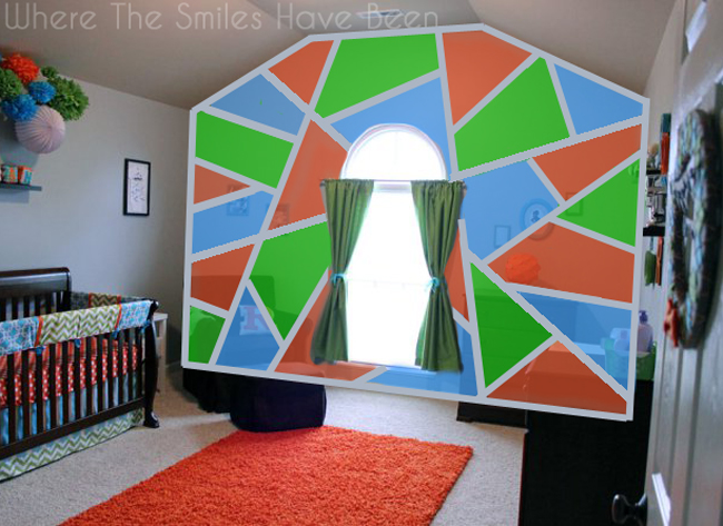 Mockup of accent wall with blue, green, and orange shapes separated by gray lines.