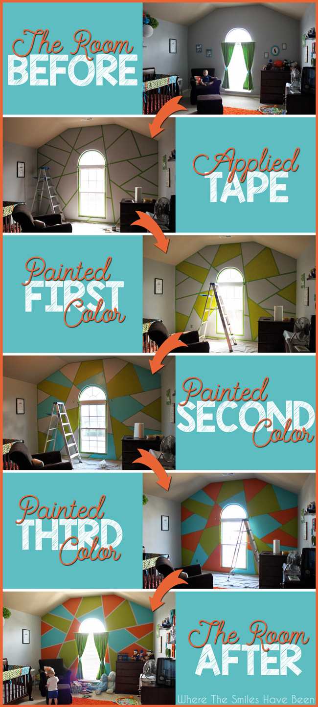 Collage showing the process of adding a Bright and Bold Accent Wall.