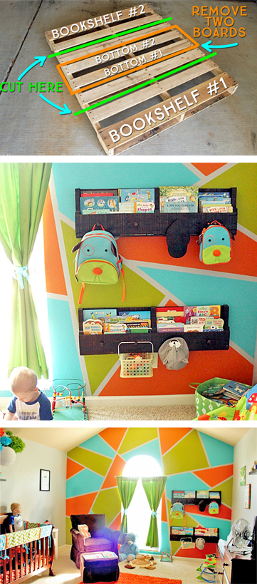 How to Make and Install Pallet Bookshelves | Where The Smiles Have Been #pallet #palletbookshelf