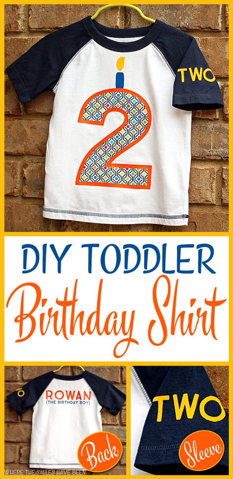 DIY Toddler Birthday Shirt with HTV and Fabric Appliqué | Where The Smiles Have Been