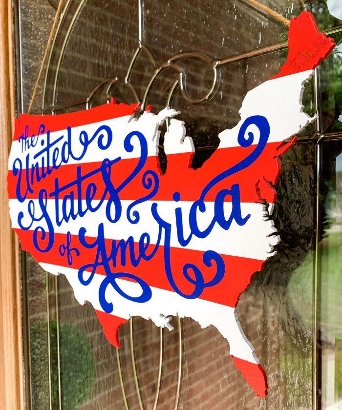 Patriotic USA Door Hanger that's a perfect summer wreath.