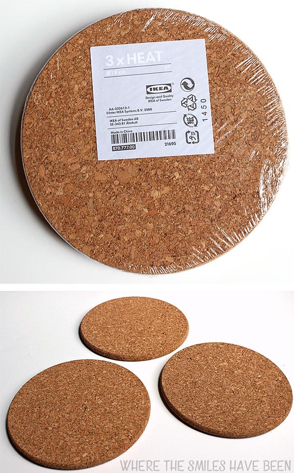 3-pack of IKEA HEAT cork trivets.