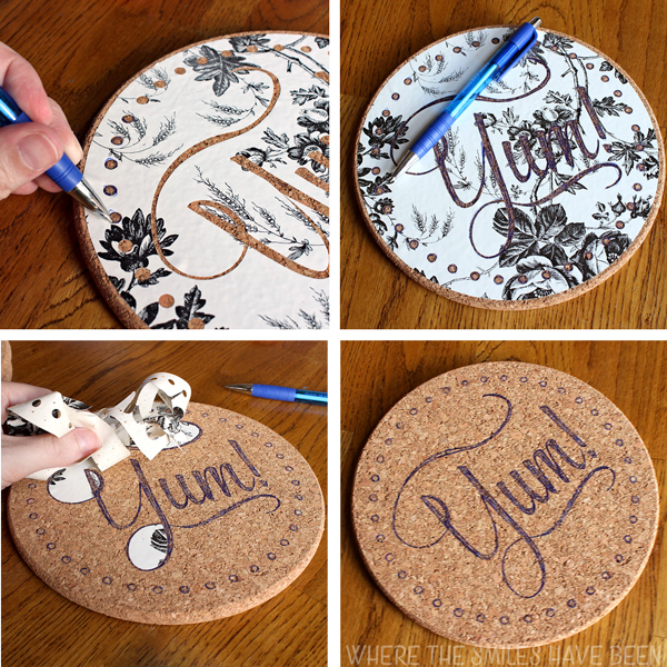 Collage showing filling in contact paper stencil onto IKEA cork trivet.