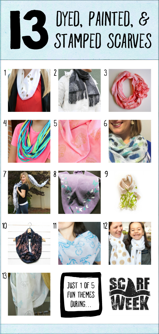 13 Dyed, Painted, & Stamped Scarves    Where The Smiles Have Been