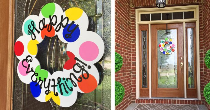 Year-Round Happy Everything Wreath: A Coton Colors Knock Off!   Where The Smiles Have Been #happyeverything #yearroundwreath #CotonColors #knockoff #DIY #polkadots