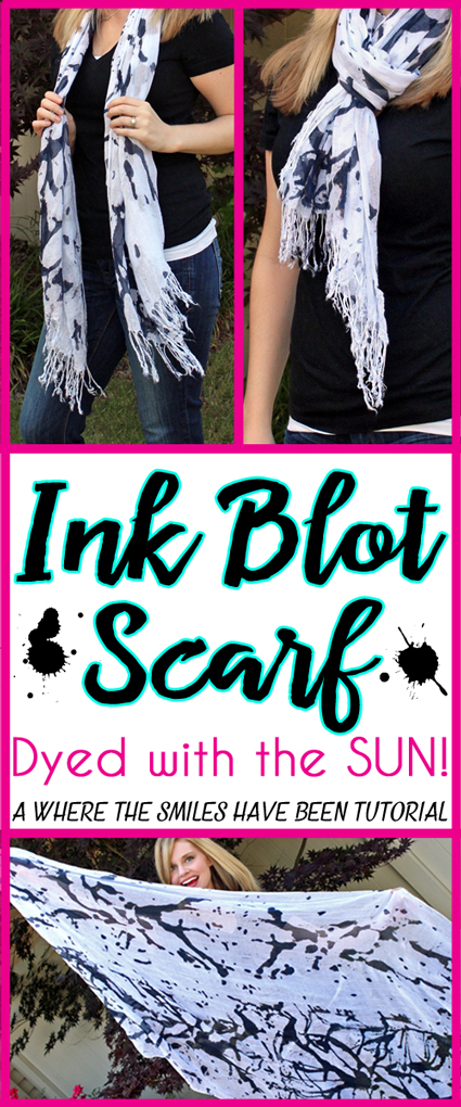 Abstract Black and White Ink Blot Scarf Dyed with the SUN!   Where The Smiles Have Been
