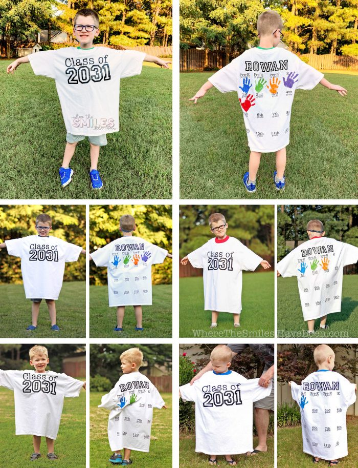 Back-to-School Shirt with Handprints picture collage.