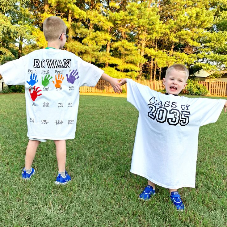 DIY Back-to-School Shirt with Handprints for Every Grade!   Where The Smiles Have Been #school #backtoschool #backtoschoolshirt #graduation #gradparty #keepsake #handprints