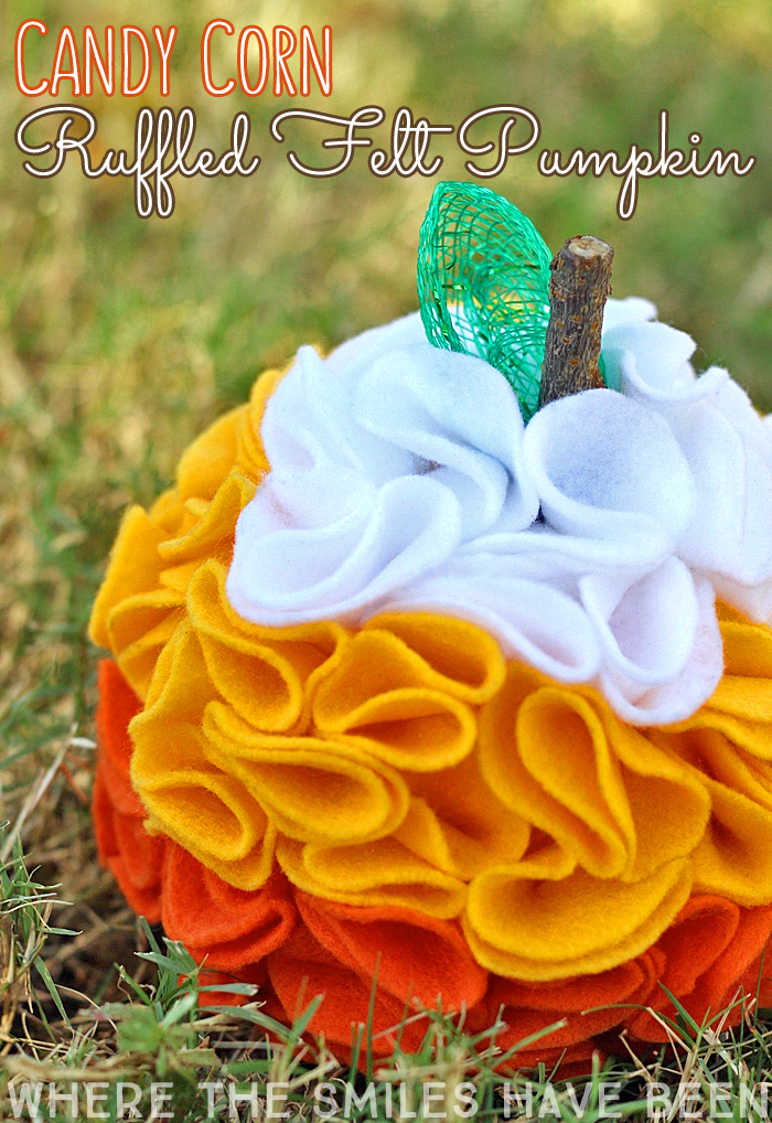 Candy Corn Ruffled Felt Pumpkin | Where The Smiles Have Been