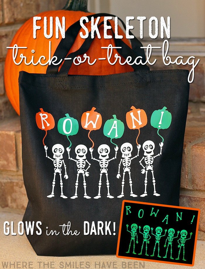 Fun Skeleton Trick-or-Treat Bag that GLOWS in the DARK!   Where The Smiles Have Been