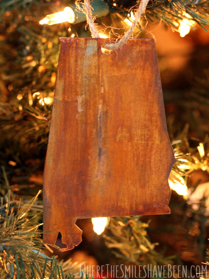 DIY Faux Rusted Metal State Ornaments from a Cereal Box! | Where The Smiles Have Been