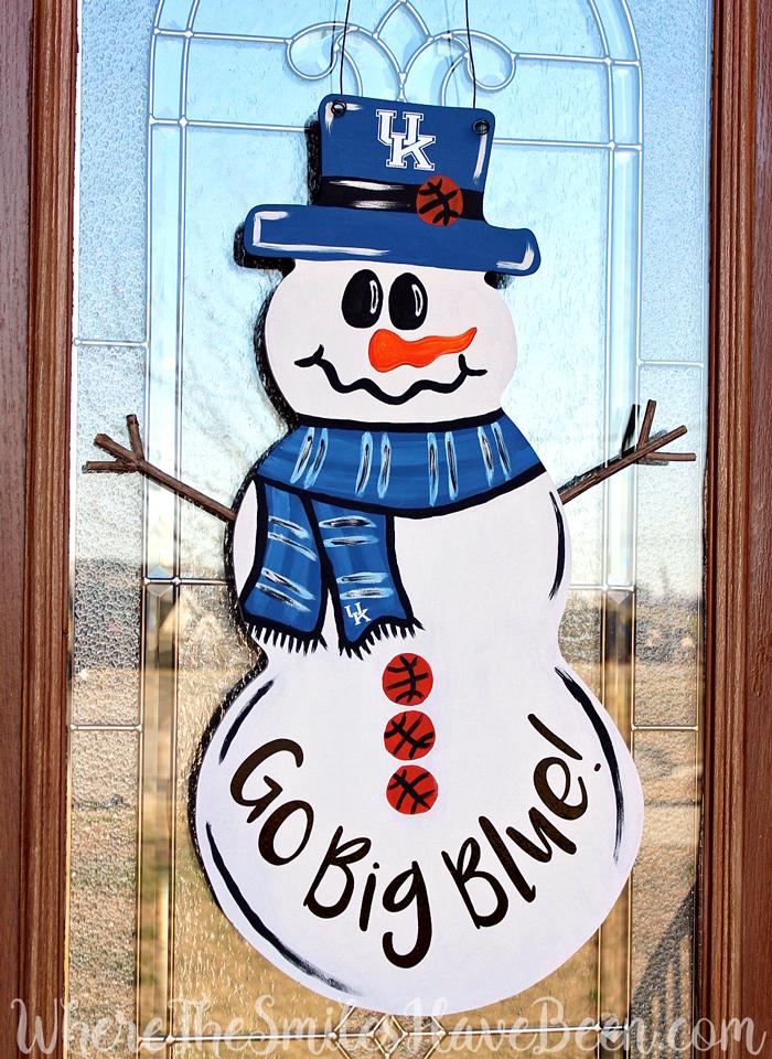 Univ. of Kentucky Basketball Snowman Door Hanger by WhereTheSmilesHaveBeen.com #BBN