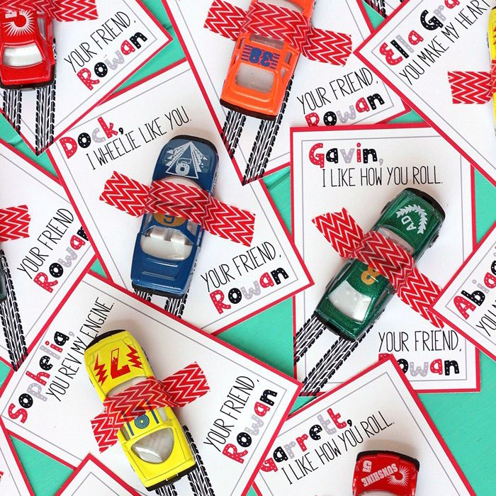 FREE Race Car Valentine's Day Cards
