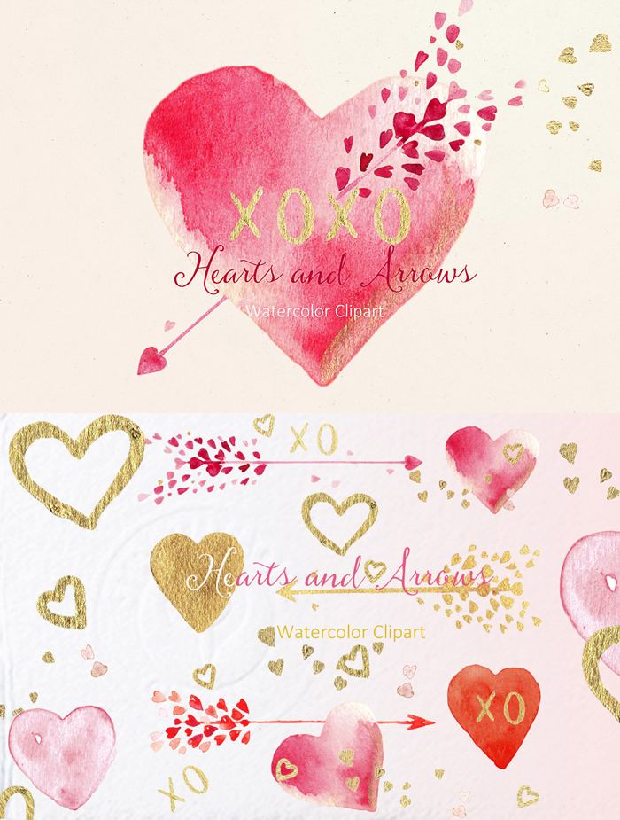 Hearts and Arrows Watercolor Clipart. Save 20% with code Smiles20!