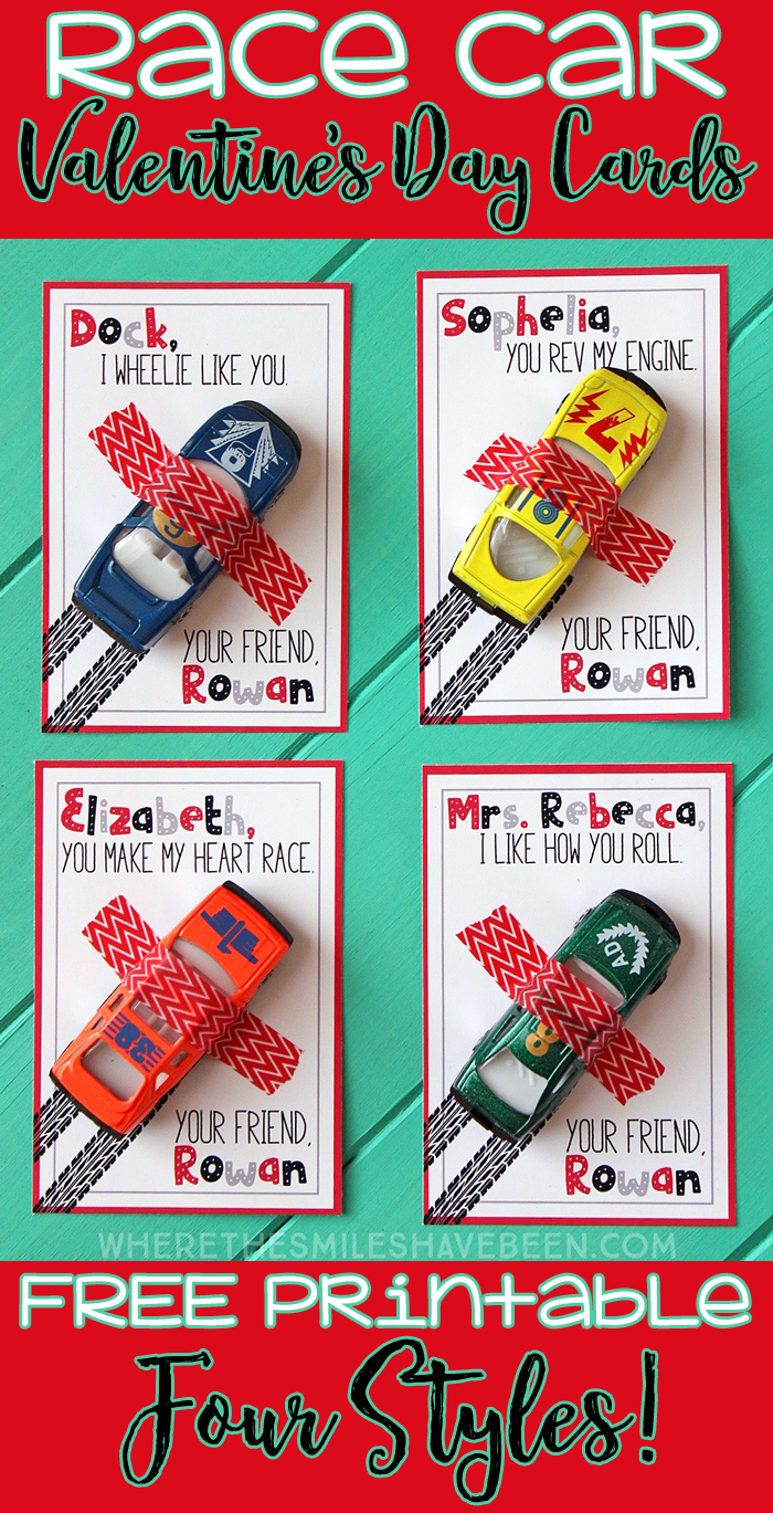 FREE Printable Race Car Valentine's Day Cards! | Where The Smiles Have Been #ValentinesDay #Valentine #ValentineCard #ValentinesDayCard #freeprintable #FreeValentine #RaceCarValentine #SchoolValentine