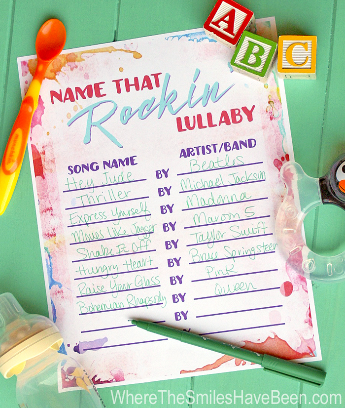 Baby Shower Game Free Printable: Name That Rockin' Lullaby! | WhereTheSmilesHaveBeen.com