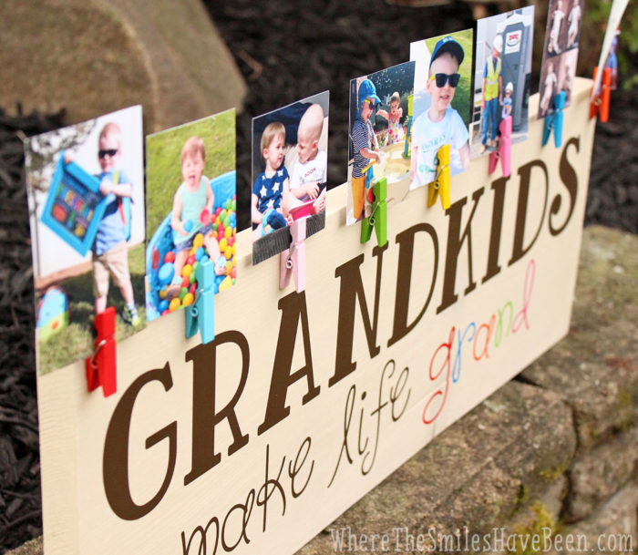 Colorful 'Grandkids Make Life Grand' Wood Sign Photo Display.