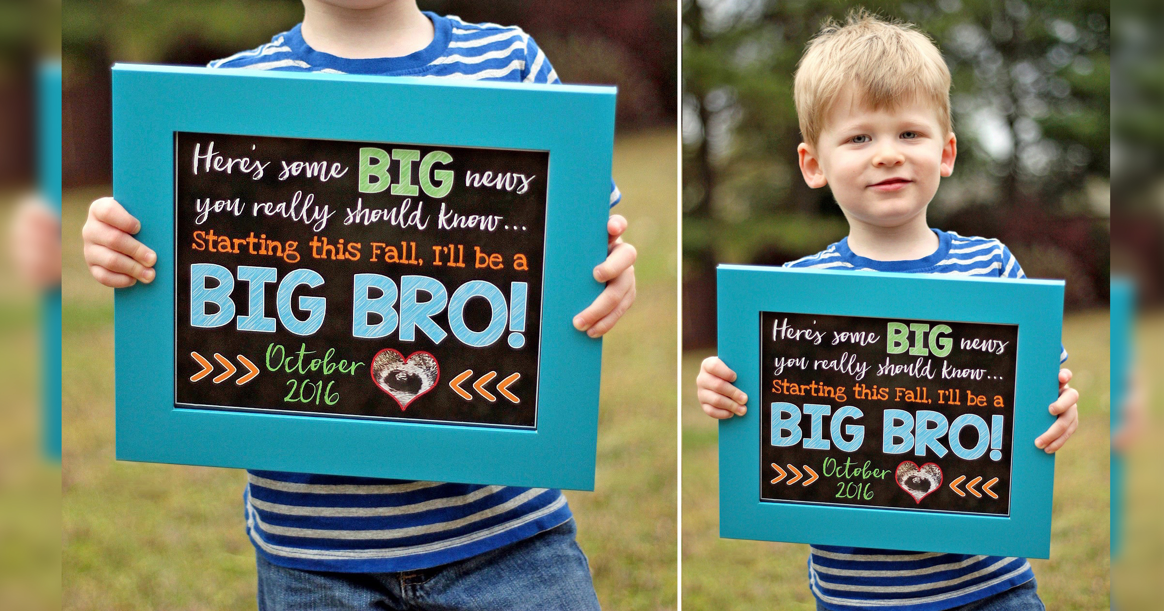 older sibling and baby photo ideas - Sibling Pregnancy Announcement Chalkboard Sign