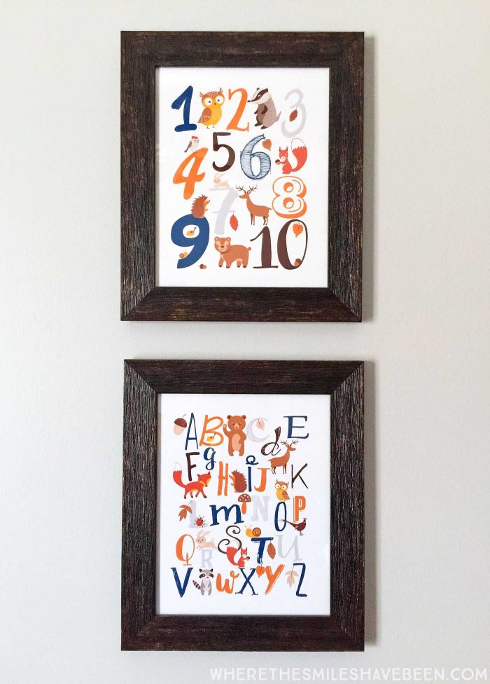 LOVE these prints with the ABC's and 123's in a rustic modern woodland nursery! Take a tour of this navy & orange modern woodland nursery!   Where The Smiles Have Been