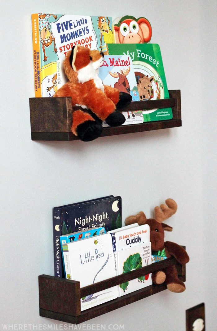 Turn IKEA spice racks into bookshelves! They are perfect for a kid's room or nursery! Take a tour of this navy & orange modern woodland nursery!   Where The Smiles Have Been