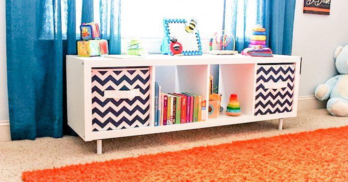 Add Legs to IKEA Kallax shelf.