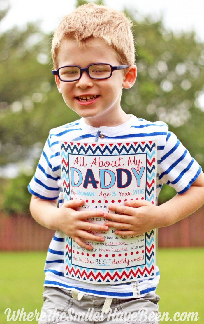 FREE Father's Day 'All About My Daddy' Interview Printable.